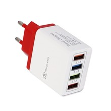 Ouhaobin 4 Port USB Charger Fast Charging EU Plug Adapter Travel Charge