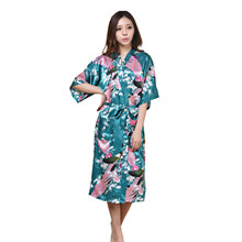 Dark Green Young Lady Kimono Gown With Belt Print Flower Home Dressing Negligee Sexy Casual Loose Intimate Lingerie Wedding Robe(China)