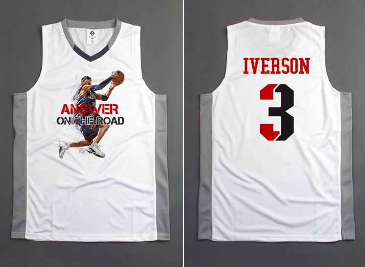 SYNSLOVE adult men solid white no.3 answer allen iverson training basketball sleeveless sport jersey loose plus size customized