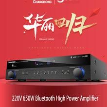 Kyyslb 220v 500w/650w 5.1 canais amplificador digital casa de alta potência profissional alta fidelidade karaoke febre 4.0 bluetooth amplificador