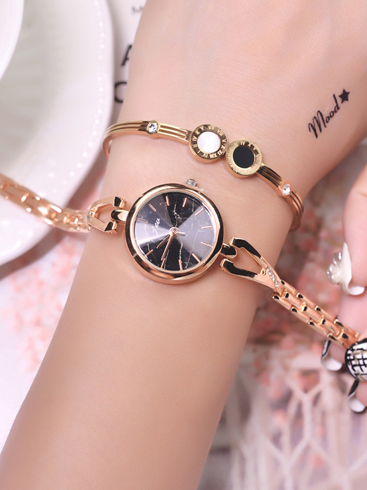 Bracelet Watches Stainless-Steel Small Women Fashion Ladies Golden Luxury Dial Surface-Marble