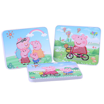 peppa pig Children's DIY handmade materials diamond stickers educational toys diamond paste painting Toy for children cxzyking large 20pcs puzzle diy diamond sticker handmade crystal diamond sticker paste mosaic puzzle toys for kids children