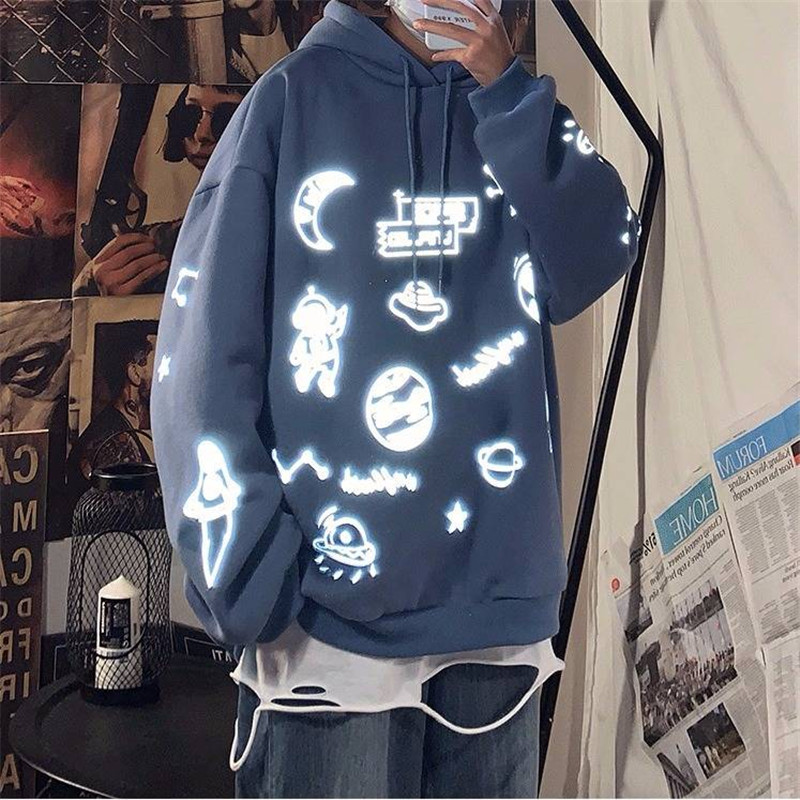 Casual Spring Autumn Japan Hoodies Male 2020 3M Reflective Hoodie Streetwear Men Hip Hop Oversized Sweatshirt Long Sleeve Tops