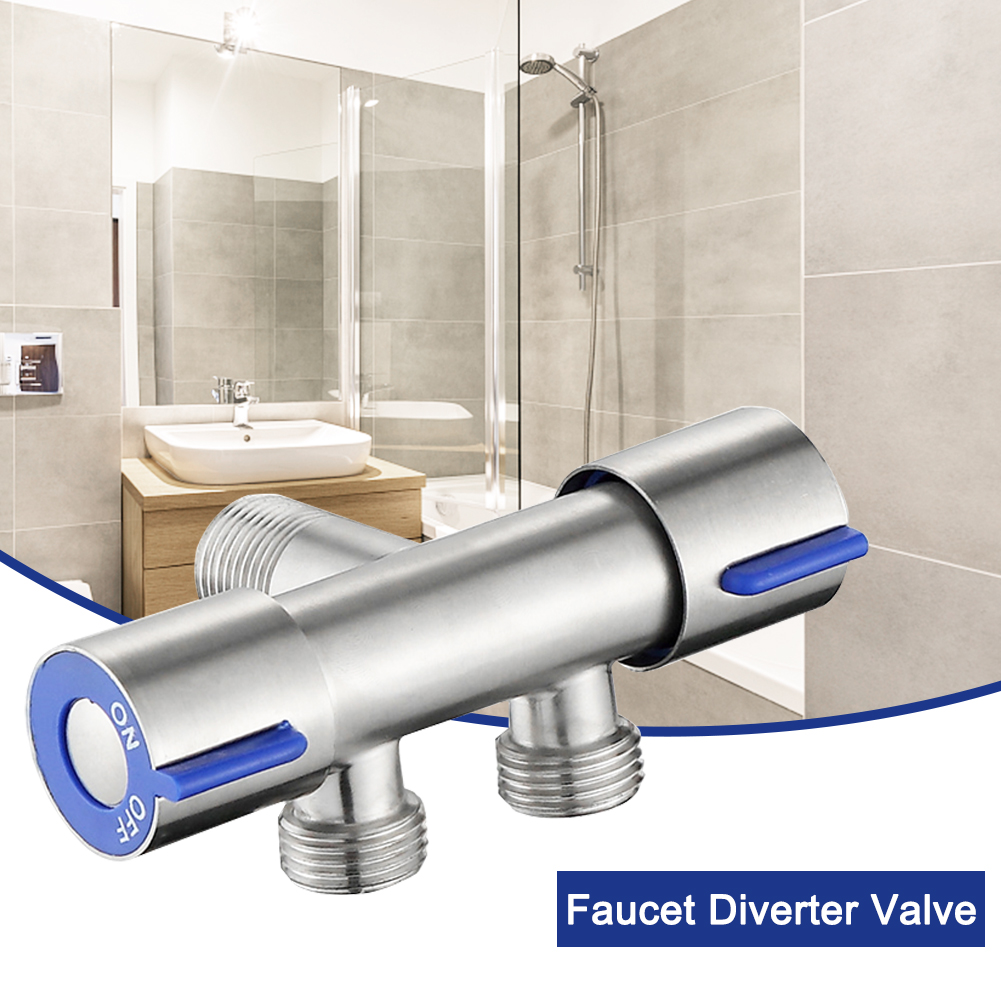 Stainless Steel Adapter Faucet Diverter Valve Kitchen Bathroom With Double Switch 3 Way Separator Replacement Part Household