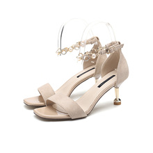 2020 summer new fashion comfortable trend can wear high heels fine heel ladies open toe buckle wild