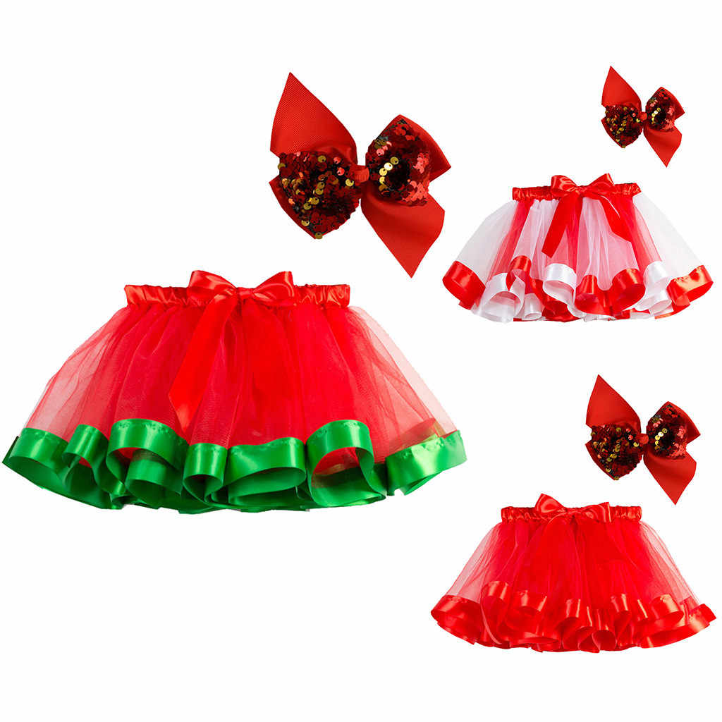 Kids Girls Tutu Christmas Party Dance Ballet Toddler Costume Skirt+Bow Hairpin Cotton Blend Cartoon Fashion Bow Headband
