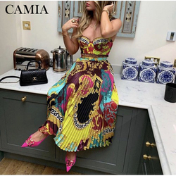 CAMIA Женский комплект 2 шт. топы с открытыми плечами и кружевными лямками с принтом миди-юбка с высокой талией для женщин 2019 Осень новинка