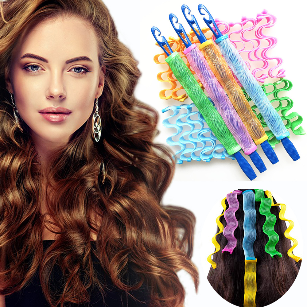 12 Pcs Lady Long Hair DIY Magic Curl Spiral Ringlets Rollers Tool Long Hair Curlers Water Ripple Hair Divider