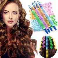 12 pièces dame cheveux longs bricolage magique Curl spirale anneaux rouleaux outil longs bigoudis eau ondulation diviseur de cheveux