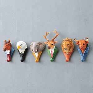 Image 3 - خطافات زخرفية جديدة على شكل حيوانات الغزلان الأسد الغوريلا وحيد القرن الفيل الحصان زينة إبداعية خطافات حائط للتعليق