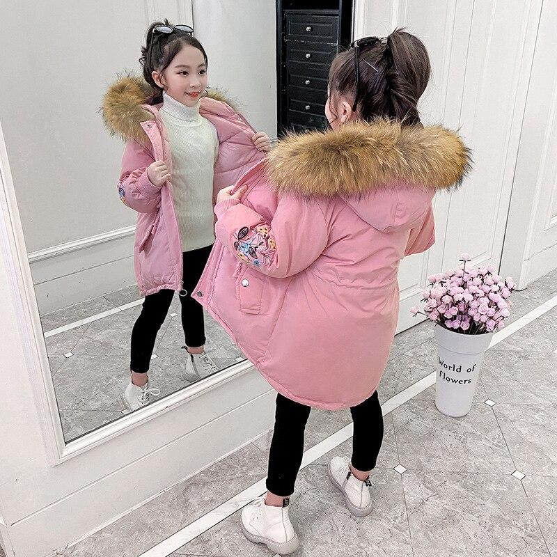 Хлопковая верхняя одежда для детей, куртка новые детские зимние пальто для девочек, одежда толстые теплые пуховики для девочек, пальто с дли...