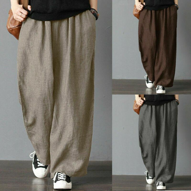 2020 Fashion Unisex Men Women Elastic Waist Soft Cotton Linen Long Pants Loose Wide Leg Pants Fit Casual Trousers Plus Size