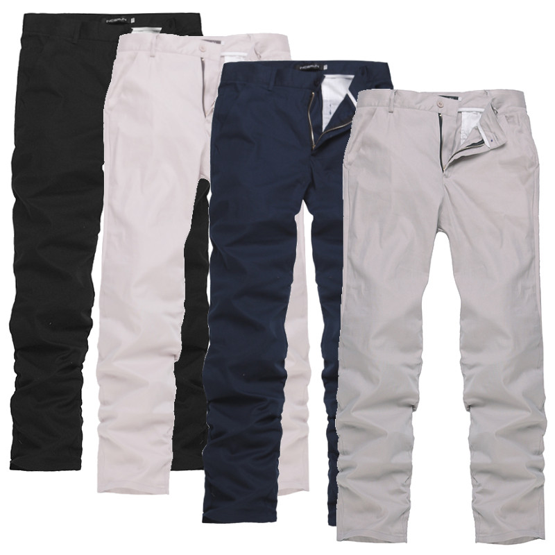 Fashion Men Pants Button Casual Solid Color Leisure Chinos Trousers Men Streetwear Casual Business Long Pans Men Straight Pants