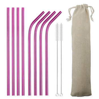 4/8pcs Metal Straw Set Reusable Straw 304 Stainless Steel Drinking Straw with Brush Eco-Friendly Pink Straw For Mugs 20/30oz