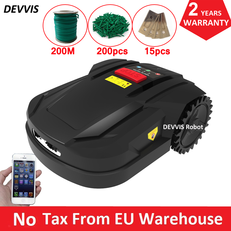 WiFi App Control 7th Cheapest Automatic Lawn Mower Robot Grass Cutter H750 With 2.2AH Li-ion Battery,200m Wire,200pcs Pegs
