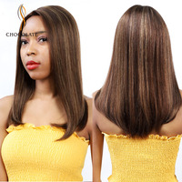 Ombre Colored Handmade Lace Hairline Human Hair Wigs Straight Wig Remy Brazilian Bob Short Wigs For Black Women Wigs Side Part