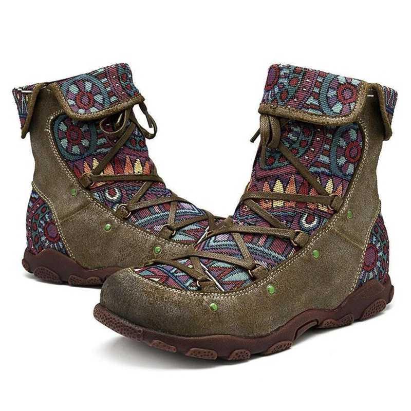 Bohemian motosiklet botları kadın bahar PU yarım çizmeler ayakkabı kadın patik kadın