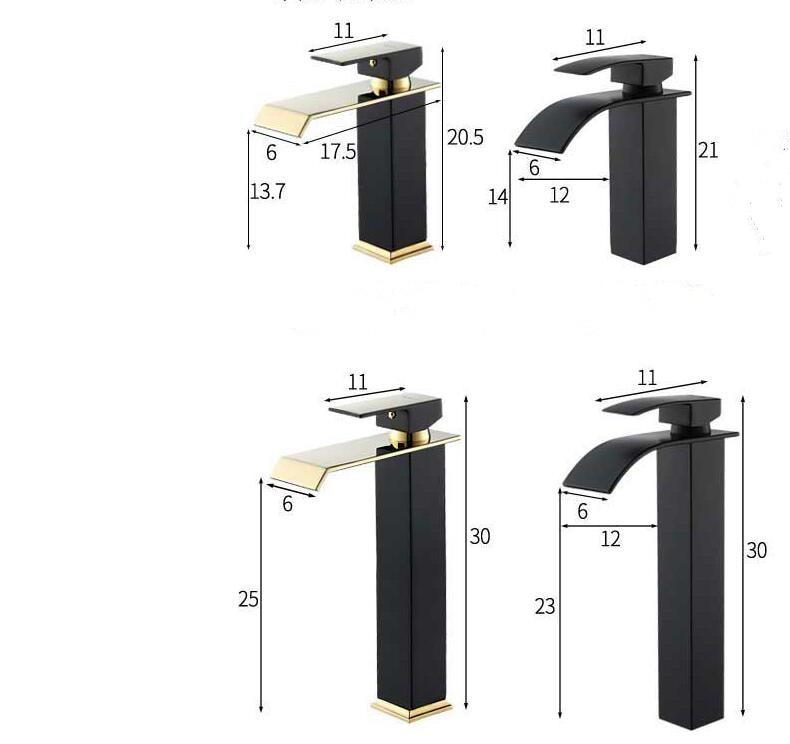 H6ef086701c274dc7994551e3d8c0515e4 Basin Faucet Gold and Black Waterfall Faucet Brass Bathroom Faucet Bathroom Basin Faucet Mixer Tap Hot and Cold Sink faucet