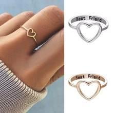 Moda simples feminino anéis de ouro cor prata coração oco melhores amigos doce presente para meninas adolescentes anéis de casamento para mulher jóias