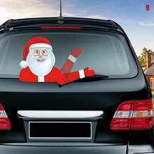 Car Rear Wiper Decal Sticker Windshield Christmas Santa Claus Waving Decor Ornament _WK