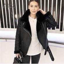 2019 chaqueta de cuero caliente de Invierno para mujer csaual cálido forro de lana de imitación PU abrigos para mujer con blet motociclista chaquetas de abrigo