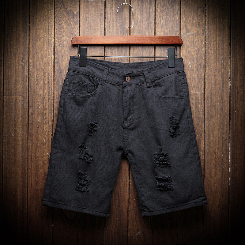 Summer New Style Denim Shorts Korean-style Short Denim Shorts Cool With Holes Solid Color Breeches MEN'S Jeans