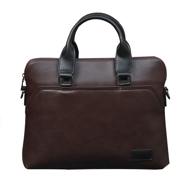 Vintage Men Briefcase Business Office Handbag Crazy Horse Leather Shoulder Messenger Bag For 13