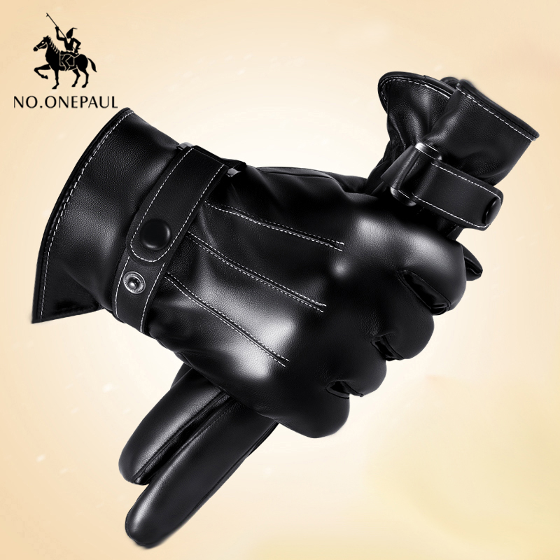 NO.ONEPAUL Men Gloves Genuine Leather Full Finger Black High Quality Cashmere Winter Gloves Warm Touch Screen Tactical Gloves