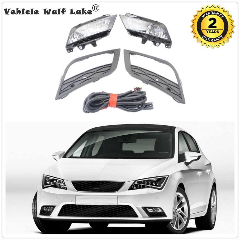 For Seat Leon 2013 2014 2015 2016 Car-styling Front Bumper Fog Light Fog Lamp With Bulbs Grille Cover And Wire Harness Assembly