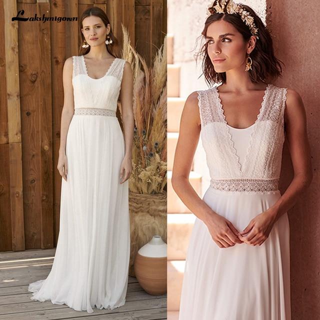 Bohemian Hippie Style Wedding Dresses 2021 Beach A-line Wedding Dress Bridal Gowns Backless White Lace Chiffon Boho white dress 1
