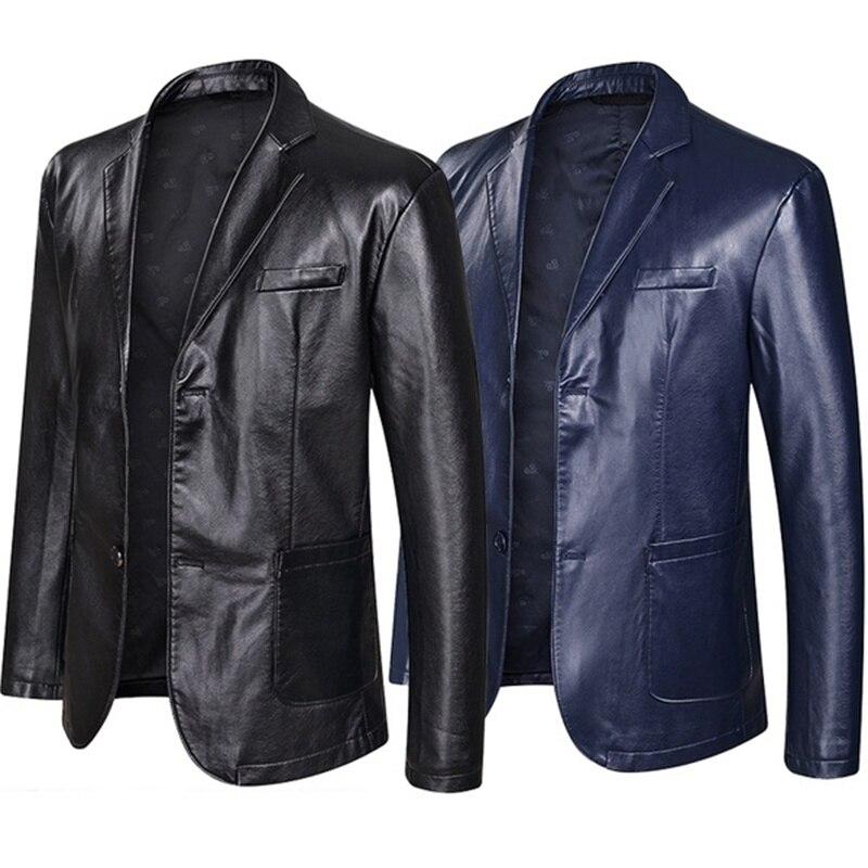 Leather Blazer Jacket For Men Fashion Loose Lapel Leather Suit Plus Size Black Blue
