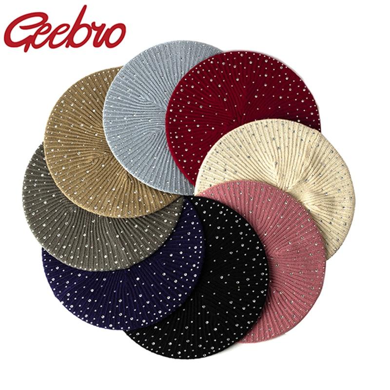 Geebro женский осенне-зимний берет, Женский вязаный Повседневный берет, роскошные шапки со стразами и блестками, модные однотонные шапки
