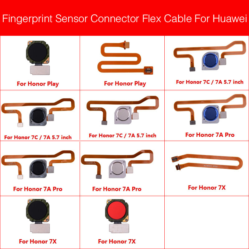 Touch ID Fingerprint Sensor Scanner Connector Flex Cable For Huawei Honor Play 7X 7C 7A Pro Home Return Key Button Repair Parts