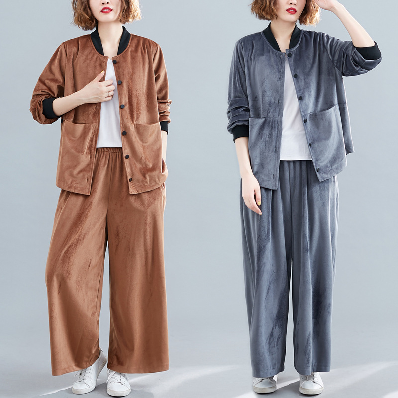 Photo Shoot New Style Autumn And Winter Large Size Loose-Fit Versatile Long-sleeved Cardigan By Age Casual Baseball Uniform Fash