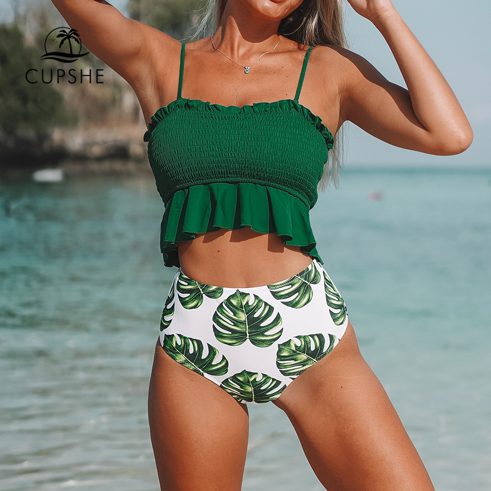 Goods  CUPSHE Smocked Green Leaf Print High-Waisted Bikini Sets Women Ruffle Two Pieces Swimsuits 2020 Gir