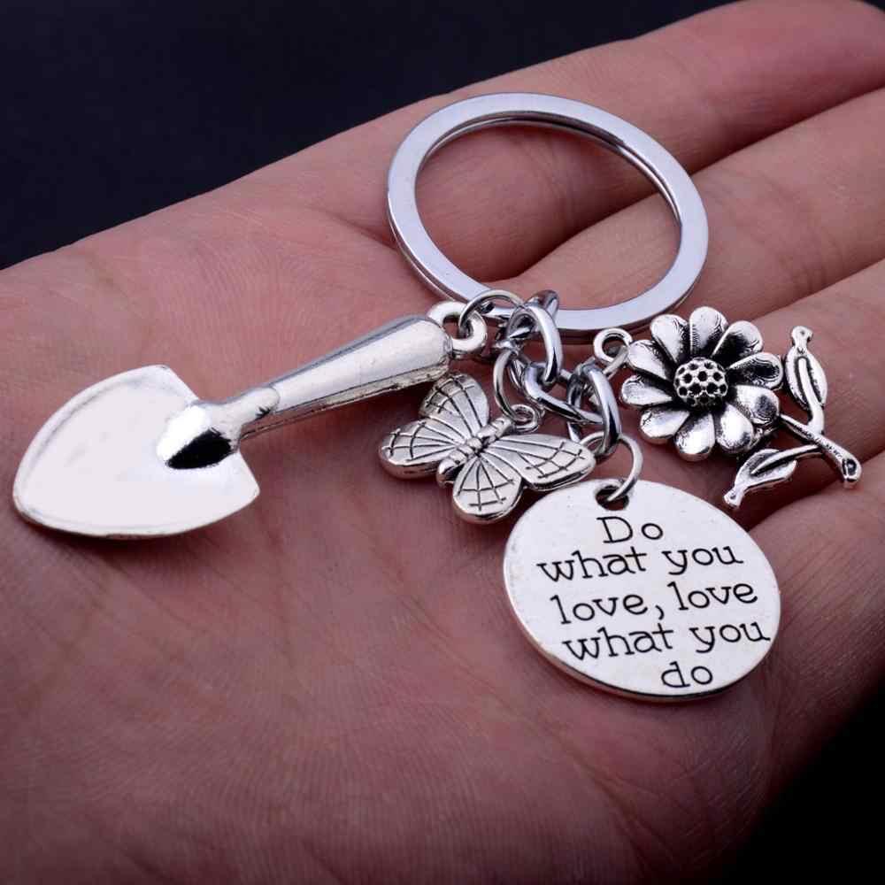 Flor de joaninha do vintage borboleta pá jardineiro presente chaveiro fazer o que você ama charme feminino presentes de natal chaveiro