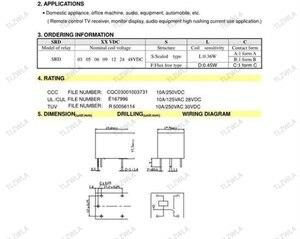 Image 5 - 50pcs ממסרים SRD 12VDC SL C SRD 24VDC SL C SRD 05VDC SL C 12V 24V 48V 10A 250VAC 5PIN T73