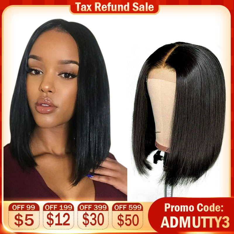 Malaysian Lace Front Human Hair Wigs For Black Women Remy Straight Short Human Hair Bob Wigs 13*4 Lace Front Bob Wig Admutty