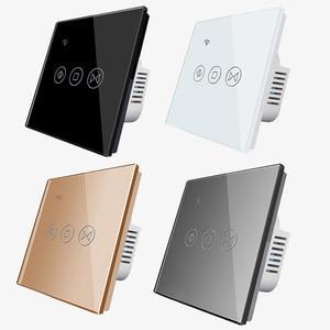Image 4 - Gratis Verzending Eu Standaard Elektrische Muur Gordijn Controller Smart Home Automation Touch Schakelaar Open Pauze Close Tuya App