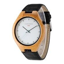 CHRONOS  Men's Children's Personality Fashion Brand Simple Belt Quartz Wristwatches Carbonized Bamboo Casual Relogio Masculino