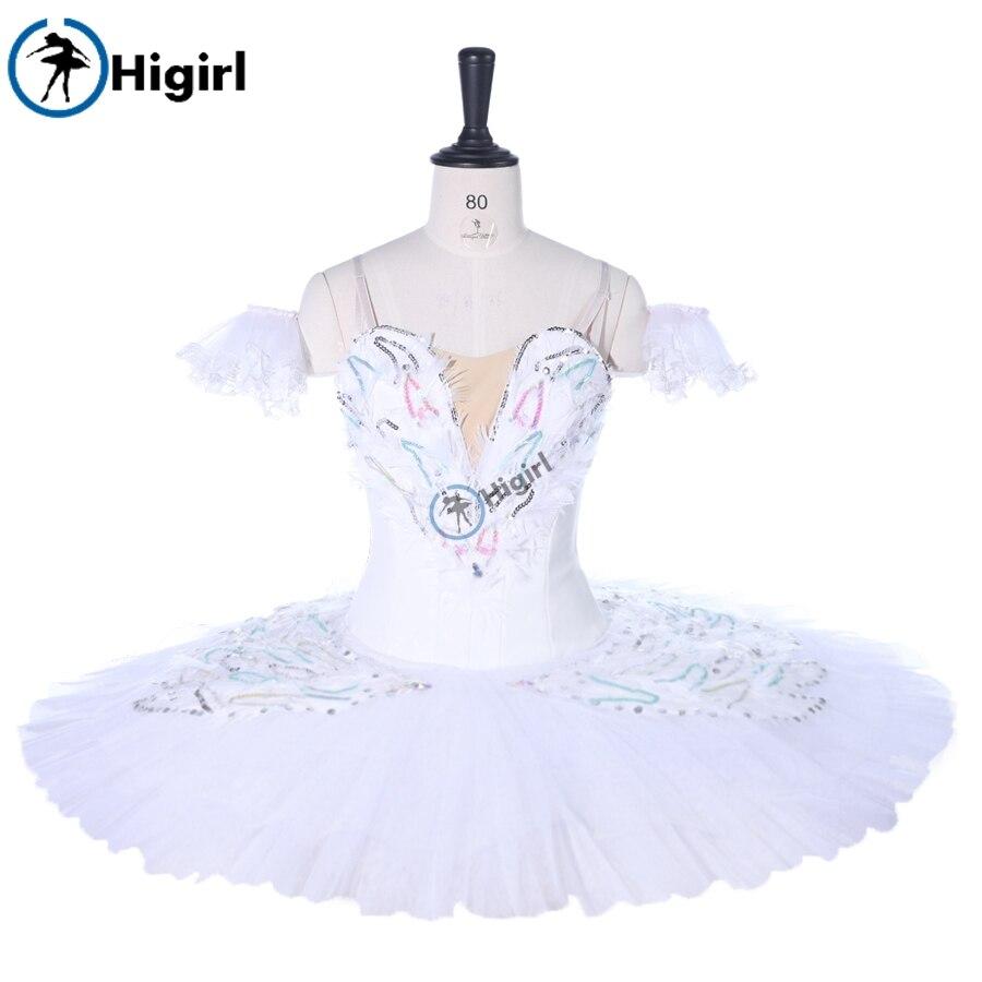 Girl Ballerina Professional Ballet Tutu White SwanBT9257 Classical Ballet Stage Costume Pancake Platter Tutu Dress Girls
