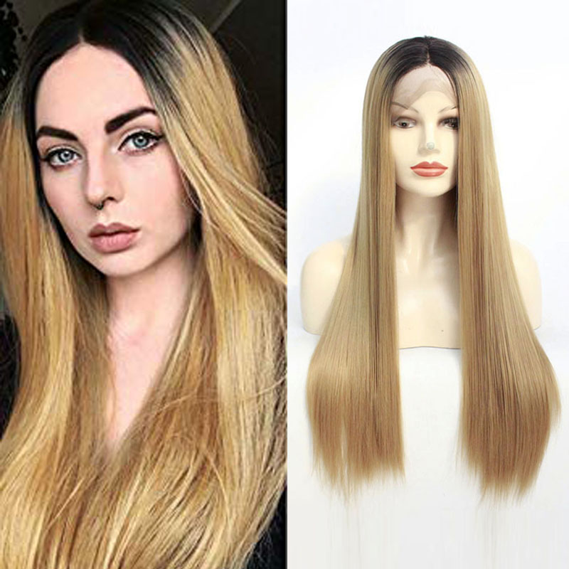 1B/27# Ombre Blonde Long Straight Wigs for Women Natural Looking Synthetic Middle Part Hair Half Hand Tied Heat Resistant Fiber