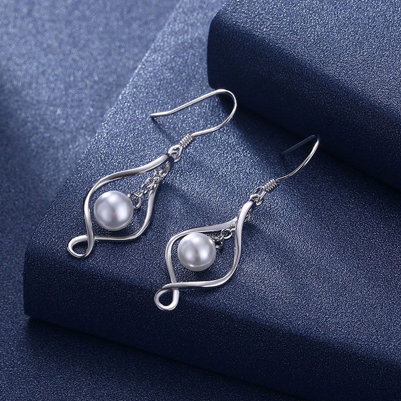 925 Sterling Silver Imitation Pearl Drop Earrings Gold/Silver For Women Fashion Jewelry Wedding Party Dangle Earrings 41mmx11mm