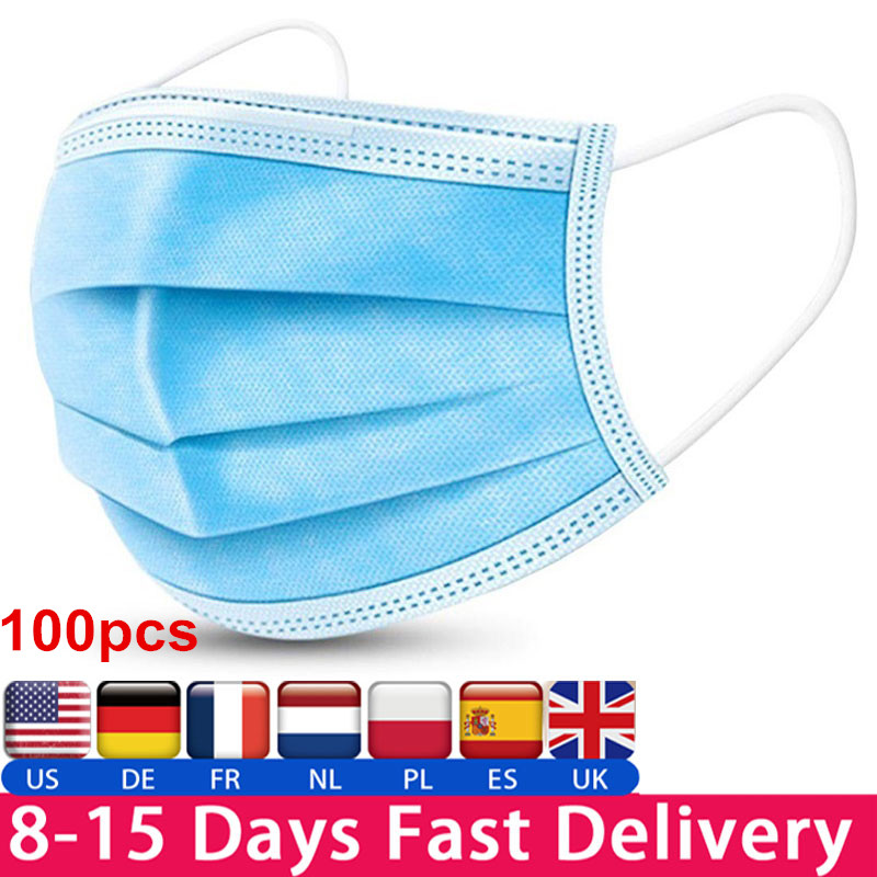 Protective Face Mouth Mask Disposable Waterproof Dustproof Mouth Mask 95% Meltblown Cloth 3-layer Protection Dustproof Cloth