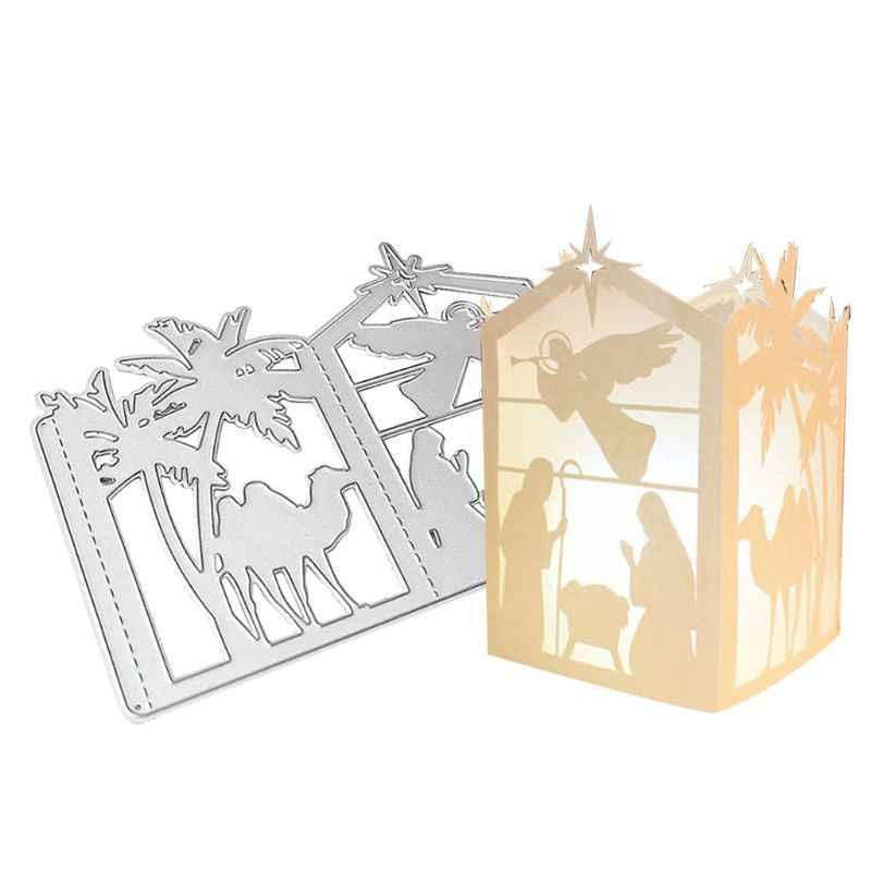 โคมไฟคริสต์มาสตัดโลหะตาย Stencil DIY Scrapbooking แสตมป์กระดาษการ์ดหัตถกรรม Decor 090C