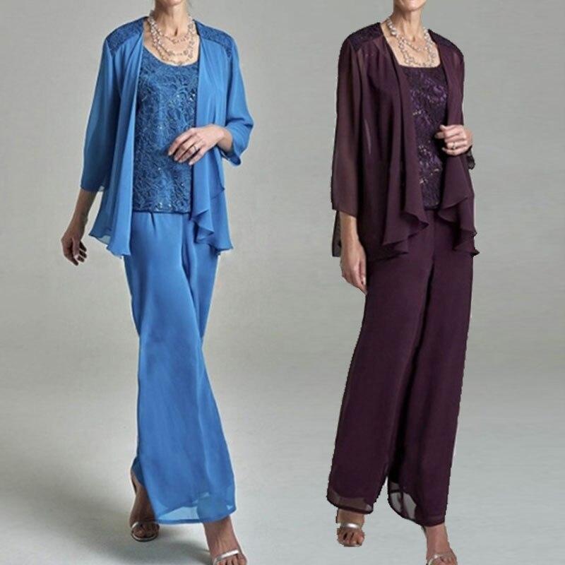 Lace Top Mother Of The Bride Pant Suits With Jackets Plus Size Chiffon Formal Evening Pants Vestido De Madrinha