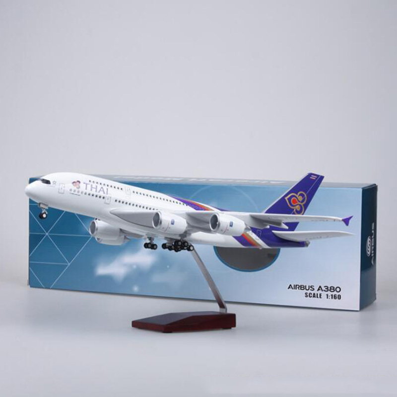 1/160 Scale 50.5CM Airplane Airbus A380 Thailand THAI Airline Model Base with light Wheel Diecast Plastic Resin Plane Toys