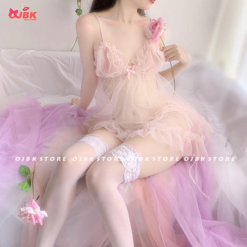 OJBK Sexy Lingerie Fairy Peach Girl Cute Chiffon V-neck Perspective Nightdress Underwear Pink Sleepwear Set Lenceria Femenina