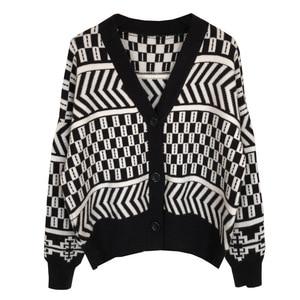 Image 2 - Women V neck Cardigan Sweater Coat 2019 Autumn Winter New Fashion Casual Comfortable Wild Patchwork Knit Cardigan Women Sweater