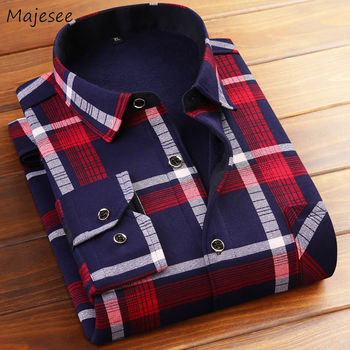 Plaid Men Shirt Long Sleeve Leisure Thicker Warm Large Size Mens Shirts Causal High Quality Ulzzang Streetwear Males Hot Sale Others Men's Fashion
